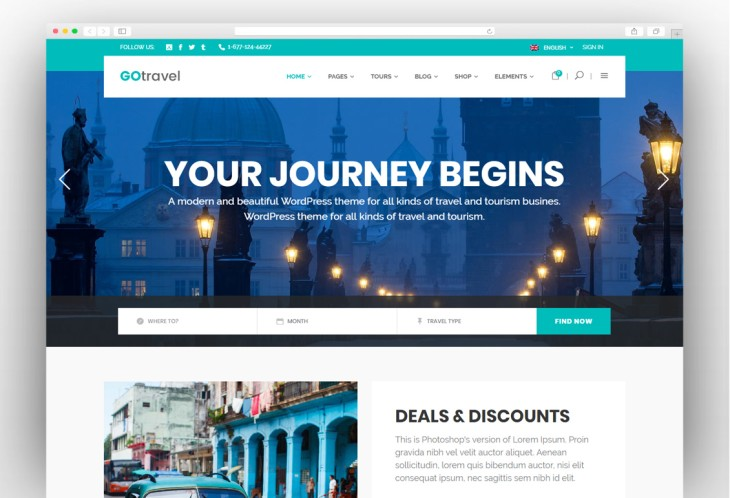 WordPress Travel Agency Themes with Packages Options 2019
