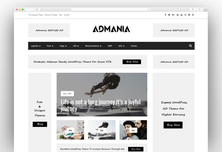 Google Adsense Optimized, Business, Magazine Blog, WordPress